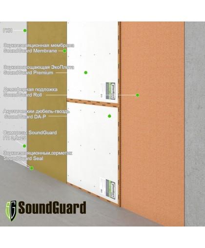 Бескаркасная звукоизоляция стены Премиум