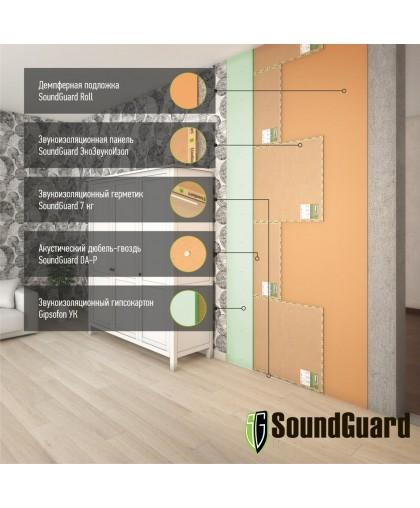 Бескаркасная звукоизоляция стены Стандарт+