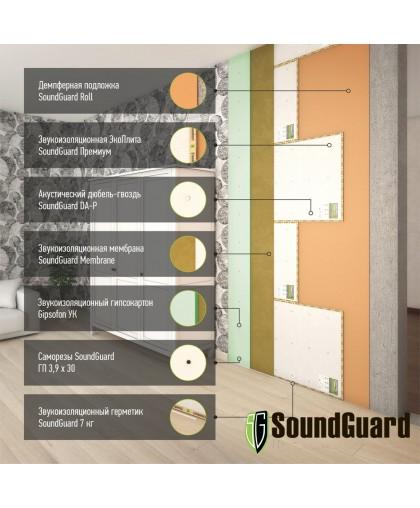 Бескаркасная звукоизоляция стены Премиум+