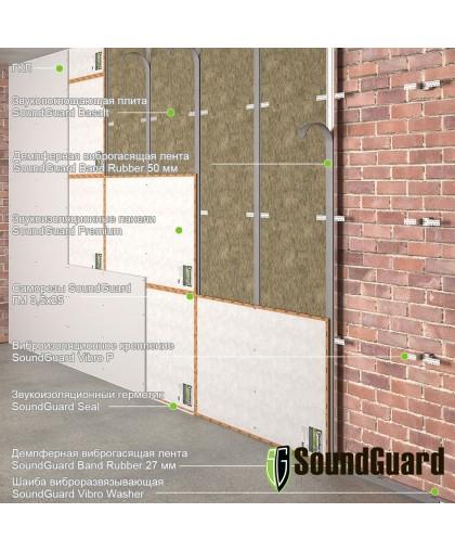 """Каркасная звукоизоляция стены - система """"Премиум"""""""